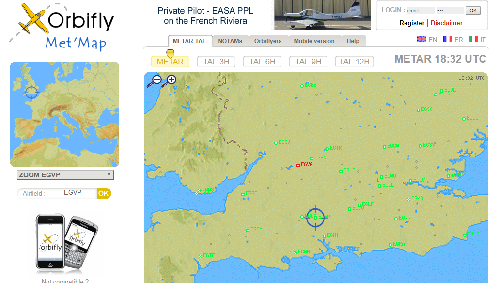 Orbifly METAR and TAF map of the UK