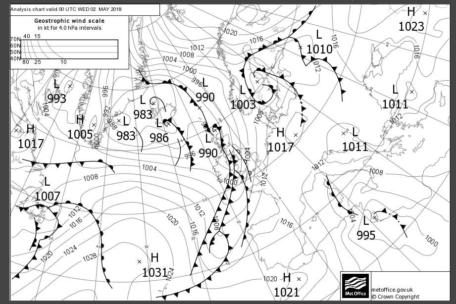 Surface pressure chart showing isobars across europe