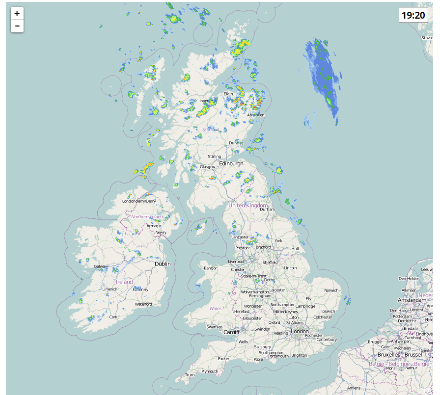 weather radar showing rainfall across the UK