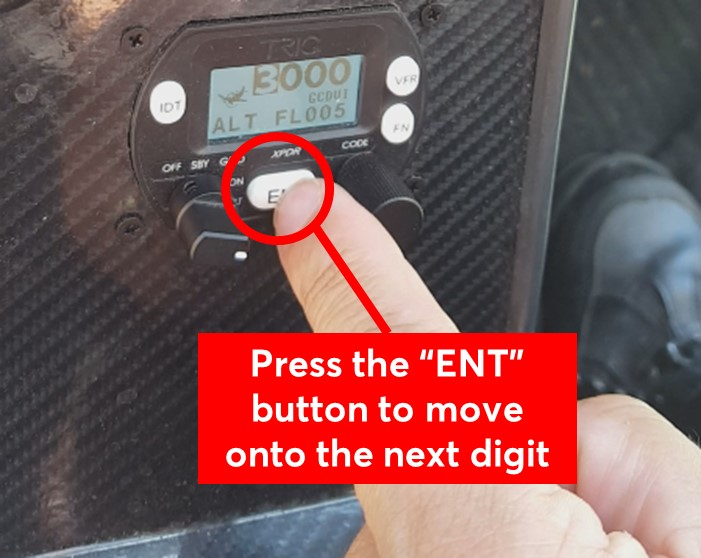 Press the ENT button to move to the next digit