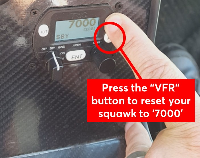 VFR button to reset the transponder to 7000