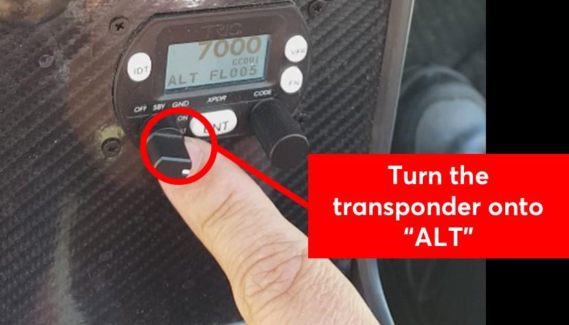 Turn the transponder onto ALT