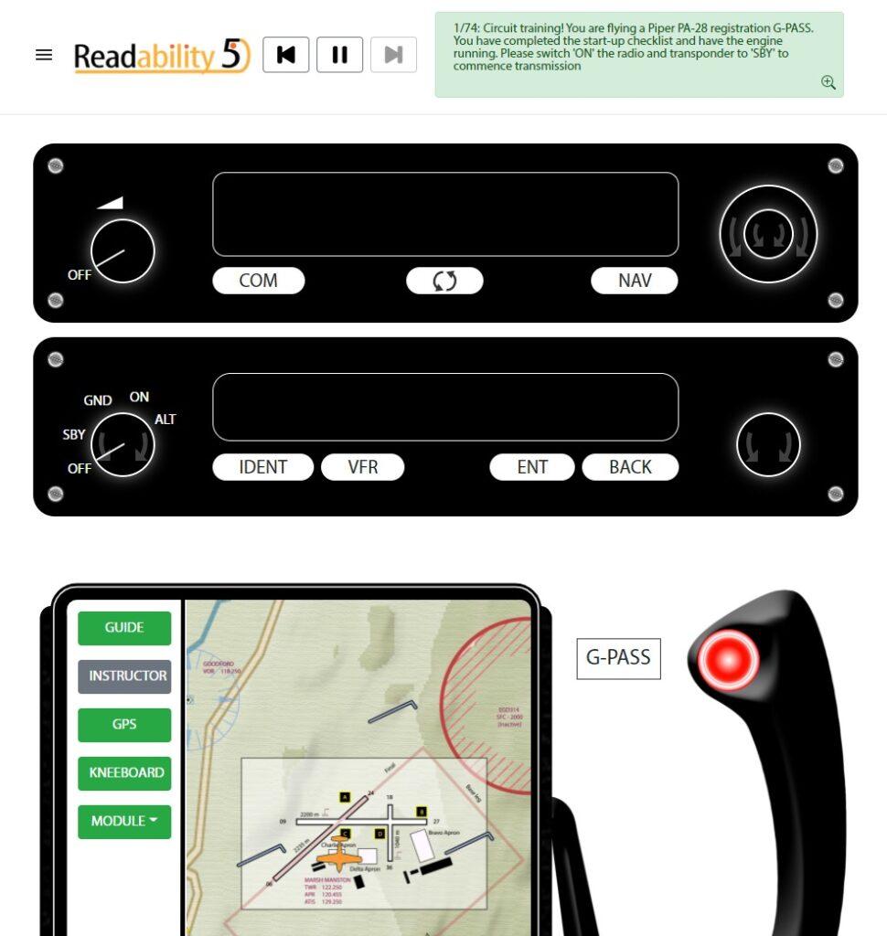 Cockput of readability5 RT radio software